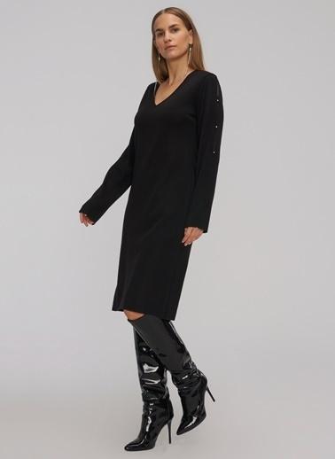 People By Fabrika Kol Detaylı V Yakalı Triko Elbise Siyah